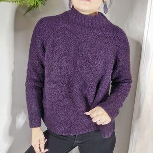 LOFT popcorn knit mockneck sweater purple 0028